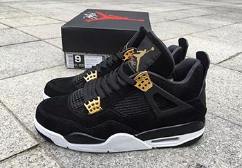 Air Jordan 4 Royalty Black Metallic Gold