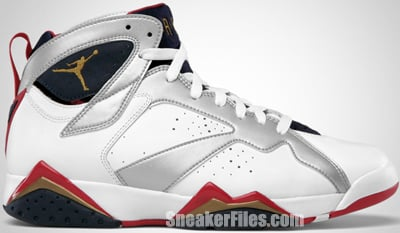 Air Jordan 7 Retro Olympic White Metallic Gold Obsidian Red 2012 Release Date