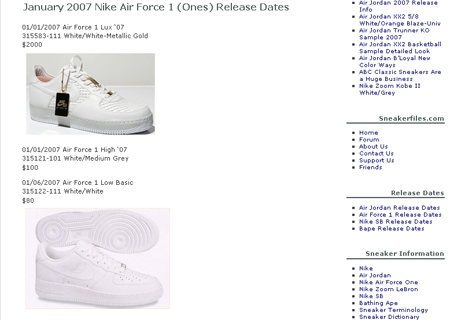 Air force ones release dates