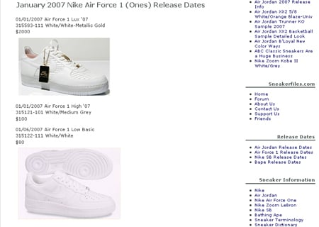 Nike Air Force One Release Dates Updated