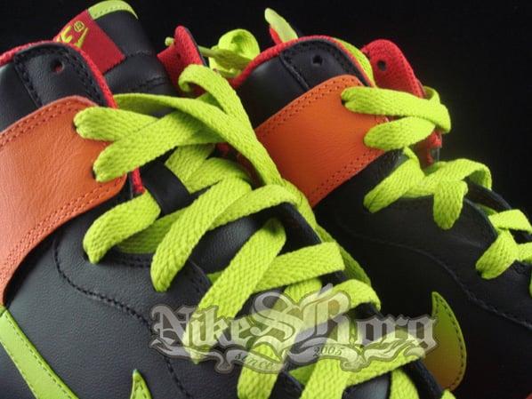 Nike Dunk High Wild Color Black/Orange-Red/Lime Green