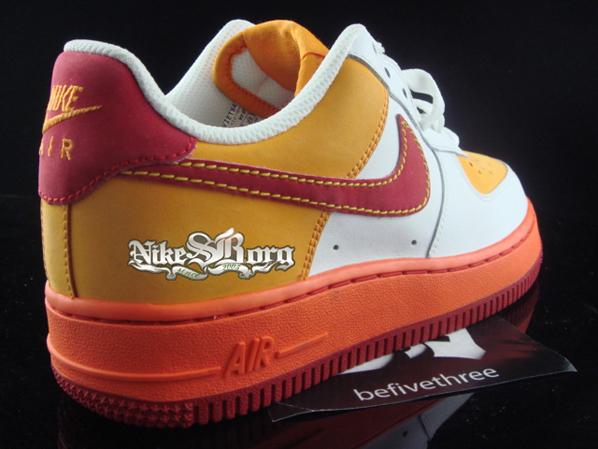 Nike Air Force 1 Yellow Orange Maroon Sample