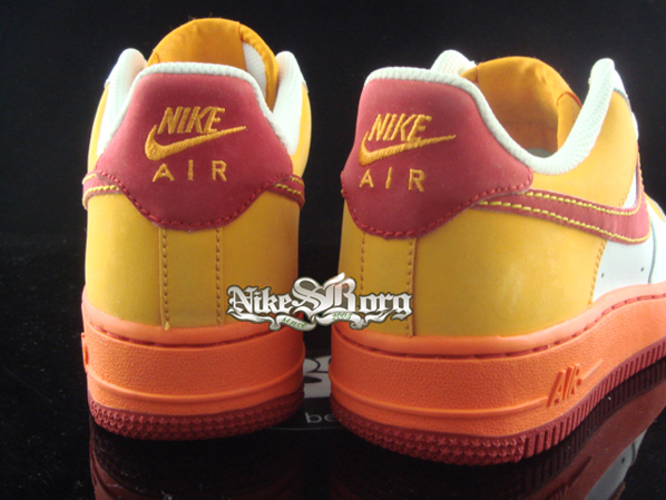 Nike Air Force 1 Yellow Orange Maroon Sample