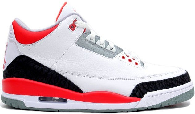 Air Jordan Retro 3 (III) White Fire Red Cement Grey