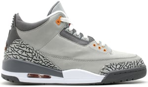 Air Jordan 3 Silver/Sport Red/Light Graphite-Orange Peel