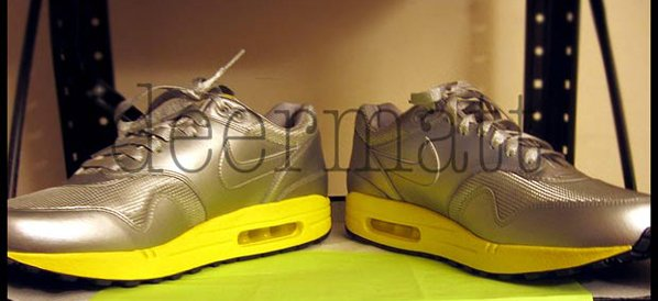 Nike Air Max 1 Silver Yellow Premium Sample  153f51cfc