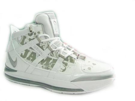 Nike LeBron III White/Silver 3M PE