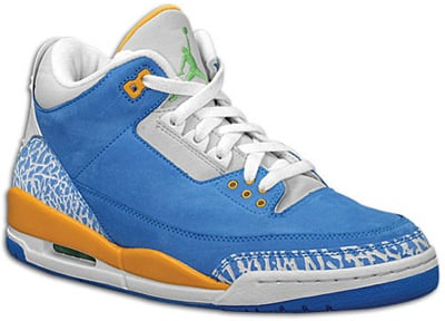 Air Jordan Release Dates 3 LS Brisk Blue/Pro Gold-Radient Green