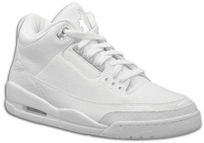 Air Jordan Release Dates III Retro Pure White/Metallic Silver