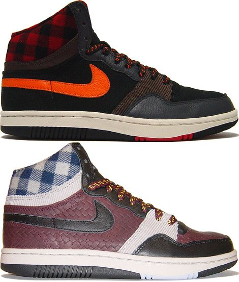 Nike Court Force Hi Premium Red and Blue Plaid at Purchaze