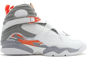 Air Jordan 8 (VIII) White/Orange Blaze-Silver-Stealth