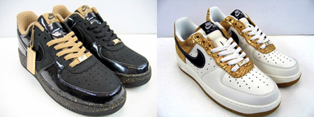 Nike Womens Air Force 1 Charles Barkley Black Gold White Gold