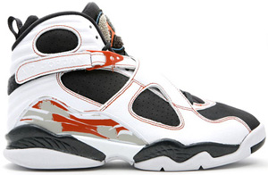Air Jordan 8 (VIII) Retro White/Anthracite-Dark Orange Black Toes