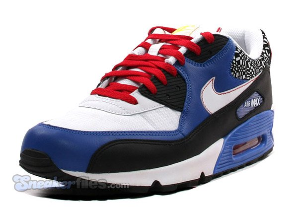 Nike Air Max 90 - Black/White/Blue/Red