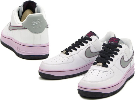 Nike Air Force 1 Womens White/Silver - Doll - Cave purple