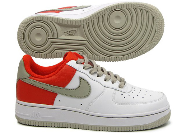 Nike Air Force 1 Womens White/Stone - Engine 1- Orange Blaze