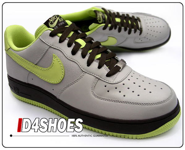 Nike Air Force 1 Womens Granite/Lime - Dark Cinder