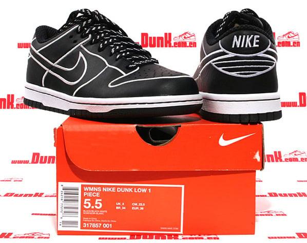 Nike Dunk Low Womens 1 Piece Black/White
