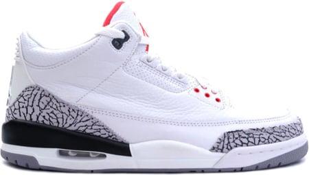 Air Jordan 3 (III) Retro White/Cement Grey-Fire Red