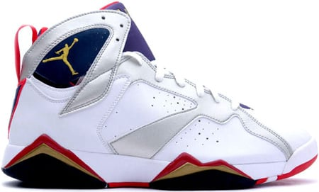 Air Jordan 7 (VII) Retro Olympic White/Metallic Gold-Midnight Navy-True Red