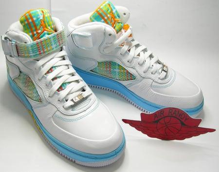 Air Jordan Fusion De Force 5 Peau Dorange Couleur Blanc Froid Bleu