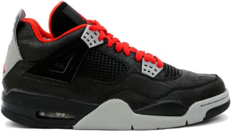 Air Jordan 4 (IV) Retro Laser Black / Varsity Red - Medium Grey