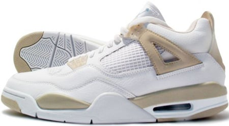Air Jordan 4 (IV) Retro Womens White / Boarder Blue - Light Sand