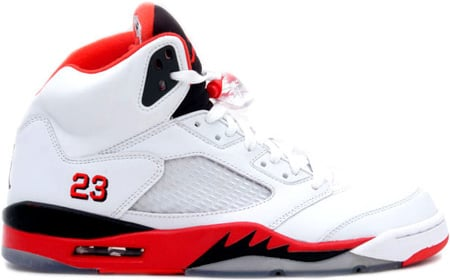 Air Jordan 5 (V) Retro Fire Reds White / Fire Red - Black