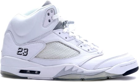 Air Jordan 5 (V) Retro White / Metallic Silver - Black
