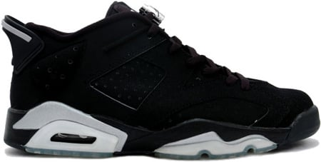 air jordan 6 retro low black\/metallic silver-white tabby