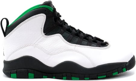 Air Jordan Original 10 (X) Seattle Supersonics White / Black - Kelly - Yellow Gold