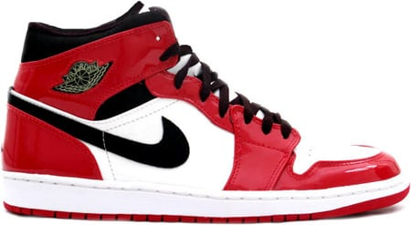 Air Jordan 1 (I) Retro Patent Leather White / Black - Varsity Red