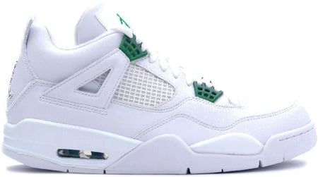 Air Jordan 4 (IV) Retro White / Chrome - Classic Green