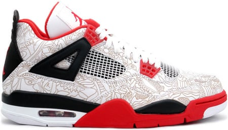 Air Jordan 4 (IV) Retro Laser Fire Red White / Varsity Red - Black
