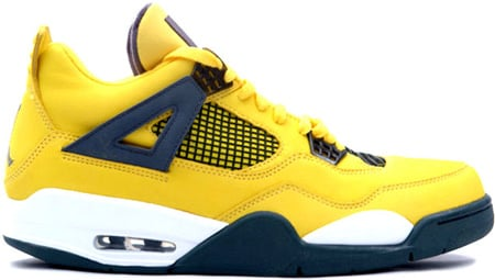 Air Jordan 4 (IV) Retro Lightning Tour Yellow / Dark Blue - Grey - White