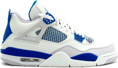 Air Jordan 4 (IV) Retro Military Blues White / Military Blue - Neutral Grey