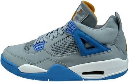 Air Jordan 4 (IV) Retro Mist Blue / University Blue - Gold Leaf - White