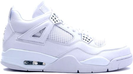 Air Jordan 4 (IV) Retro Pure White / Metallic - Silver