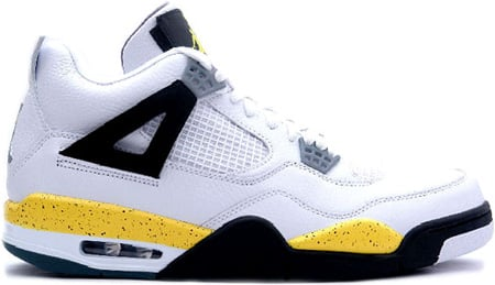 Air Jordan 4 (IV) Retro White / Tour Yellow - Dark Blue - Grey - Black