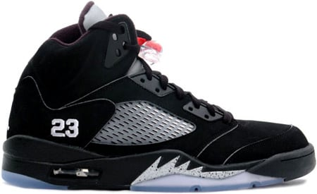 Air Jordan 5 (V) 2007 Retro Black / Metallic Silver- Red 23 ...