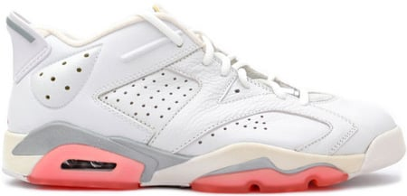 Air Jordan 6 (VI) Retro White / Coral Rose Womens Low
