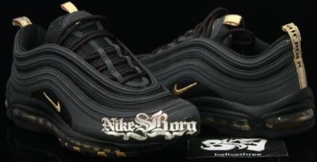 nike ari max 97 black and gold