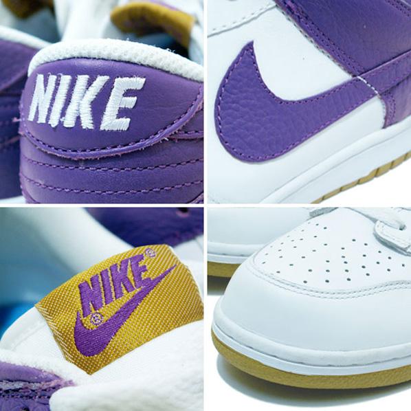 white and purple nike dunks