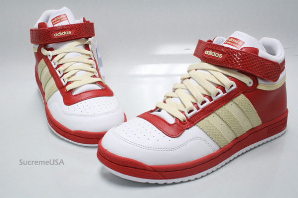 Adidas Concord Mid Court - White/Red/Sand - Snakeskin