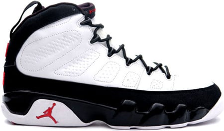 air jordan 9 (ix) retro – white / black – true red