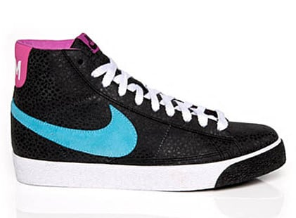 pink and blue nike blazers