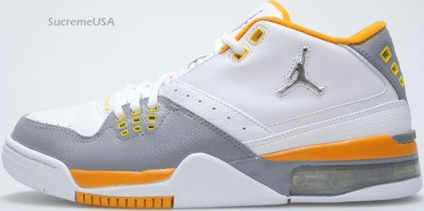 Air Jordan Flight 23 White / Metallic Silver - Stealth - Orange Peel