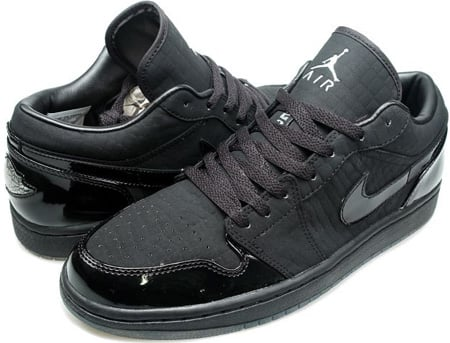 Air Jordan 1 (I) Retro Low Black / Metallic Silver - Black Crocodile Black Cat