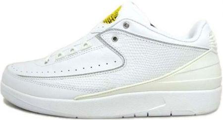 Air Jordan 2 (II) Retro Low White / Metallic Silver - Varsity Maize