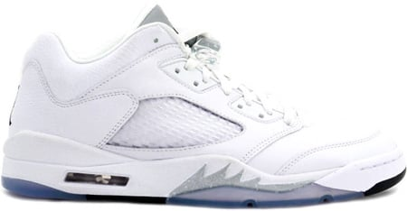Air Jordan 5 (V) Retro Low Womens White / Black - Metallic Silver